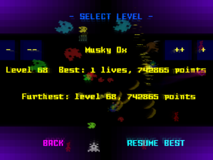 Level Select screen.  The attract mode demos the level behind the select screen.